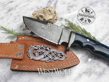 Hand-Forged Damascus Steel Viking Knife with Leather Sheath, Full-Tang Blade, and Bone Handle