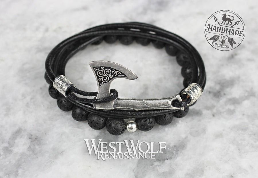 Viking Axe Bracelet in Multiple Sizes - Perun's Axe Wristband with Black Leather Cord and Lava Rock Beads
