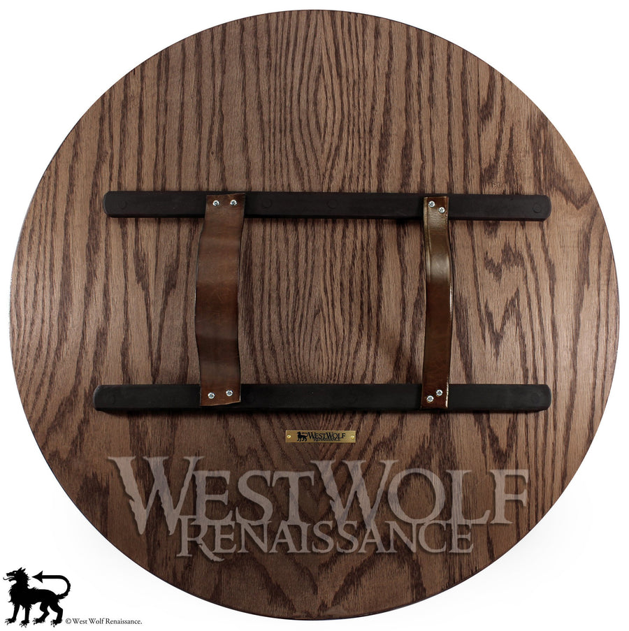 Red Oak Wooden Viking Berserker Shield with Four Arrows Design