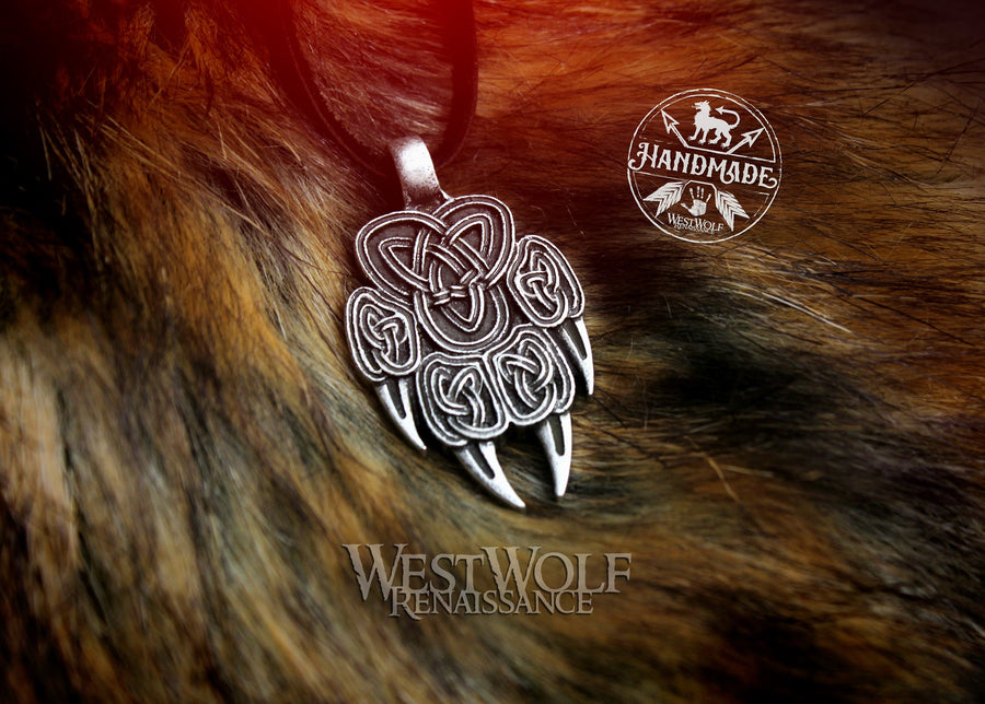 Wolf Paw Pendant with Triquetra Knotwork Design