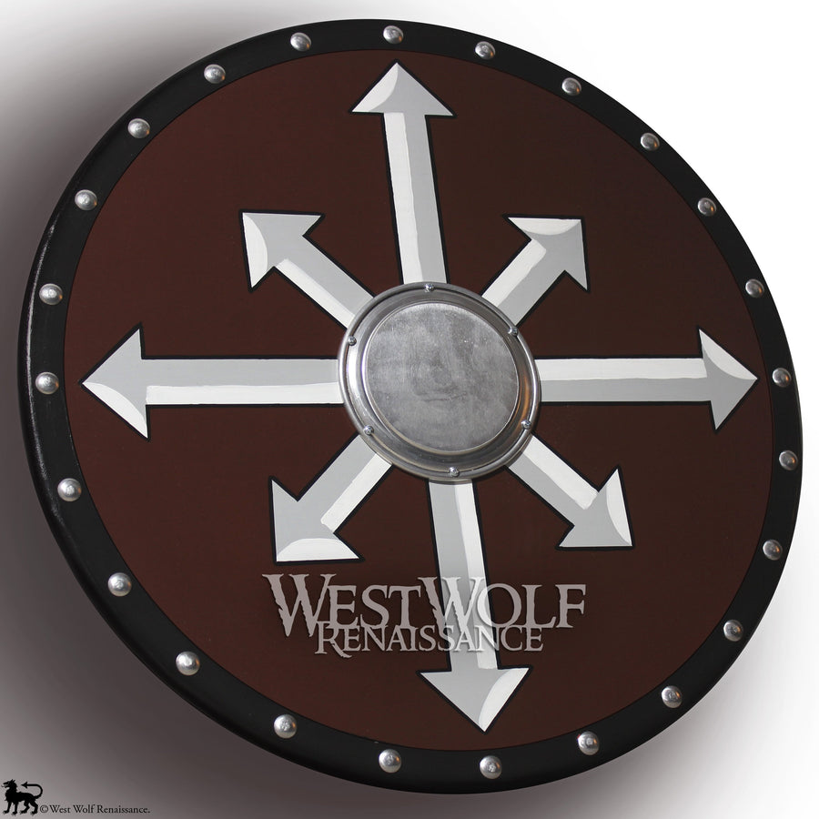 Round Wooden Viking Chaos Cross Arrows Shield