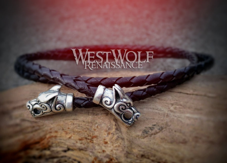 Viking Necklace Made for Pendants - Braided Black Leather Bolo with Wolf Head Terminals - 25 Inches