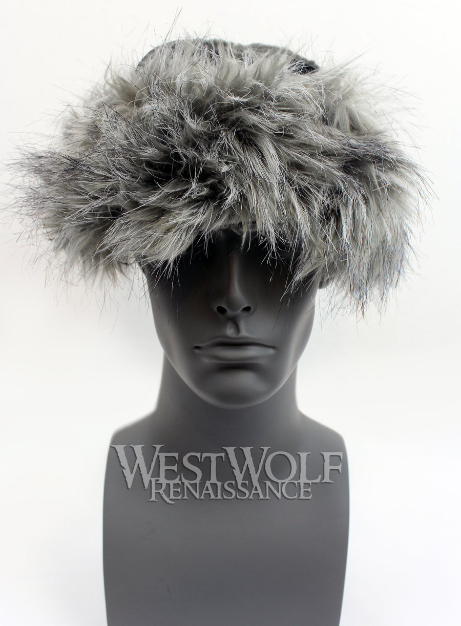 Grey Wolf Fur-Trimmed Viking Hat with Black Suede Top - Faux Fur