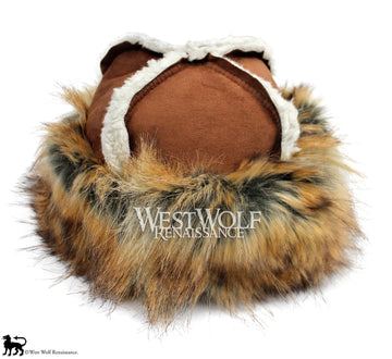 Reddish-Gold Fox Fur Viking Hat with Sierra Brown Top