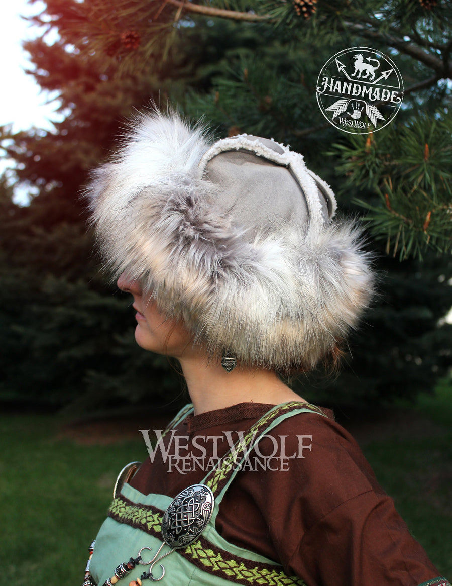 Fur-Trimmed Viking Hat with Grey Top and Winter Silver Fox Fur