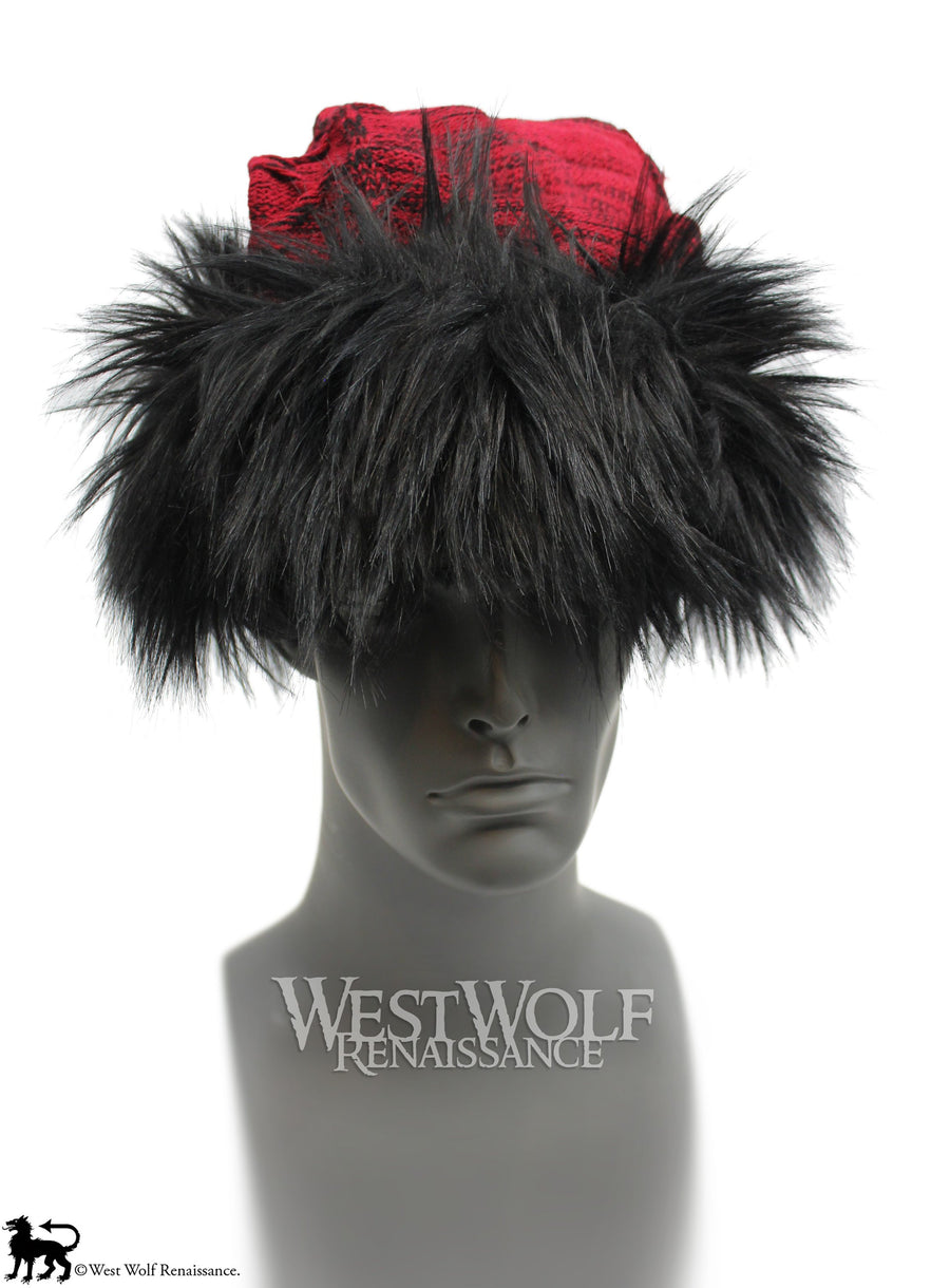 Black Fox Fur Viking Hat with Woven Wine Red Knit Top