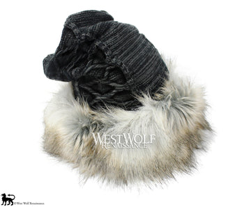 Silver Fox Fur Viking Hat with Woven Dark Grey Knit Top