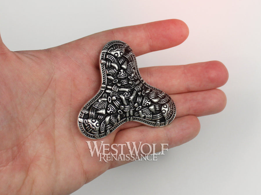 Viking Trefoil Brooch or Pin - Borre Style Viking Art - in Silver or Bronze
