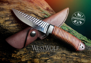 Hand-Forged Damascus Steel Knife with Rosewood Handle, Rattan Wrap, and Leather Sheath