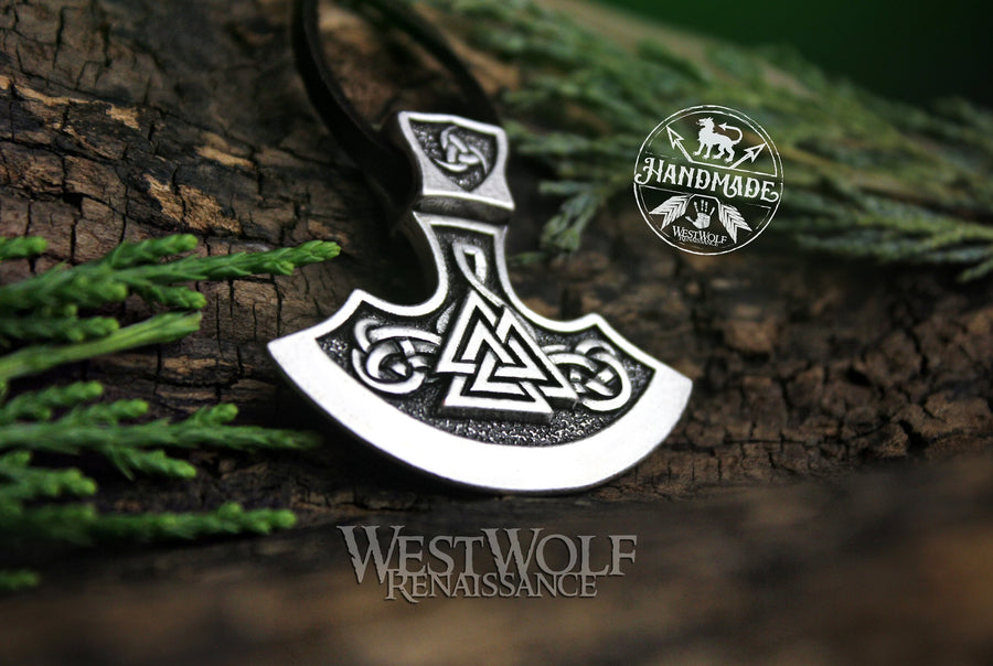 Viking Axe Blade Pendant with Valknut and Triskele Design