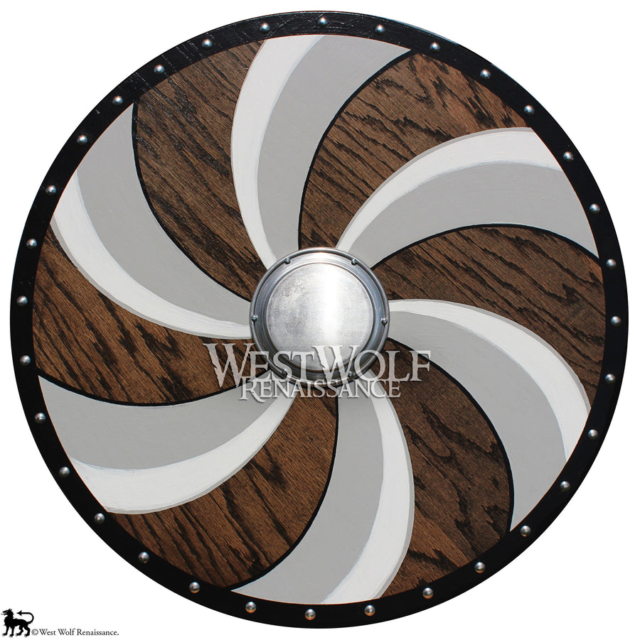 Viking Spiral Shield - Solid Oak Wood