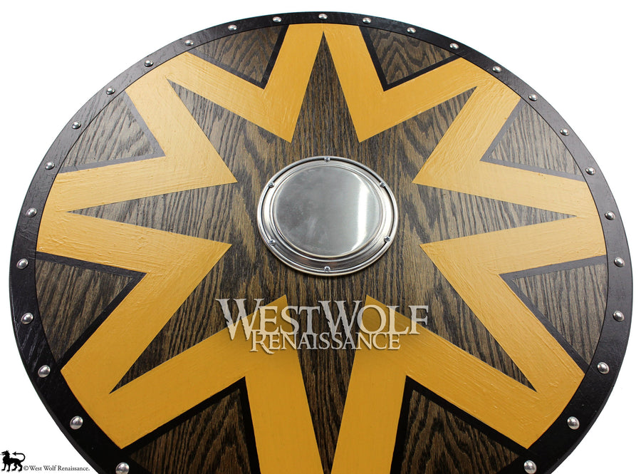 Solid Oak Viking Star Design Shield