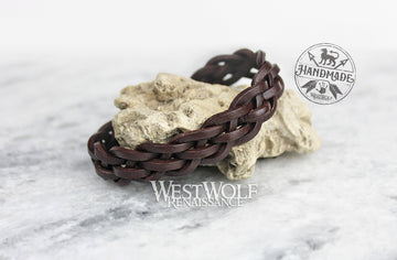Leather Viking Braided Style Bracelet - Adjustable Size - Simple Woven Pattern