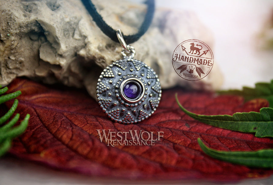 Sterling Silver Medieval Sun Pendant with Amethyst Stone - Historic Replica