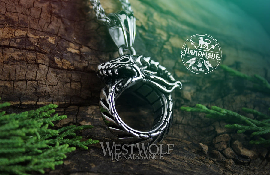 Ouroboros Dragon or Sea-Serpent Pendant