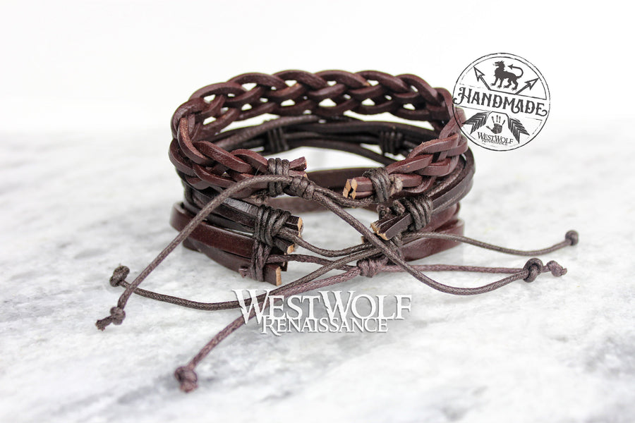 Leather Viking Triple Bracelet or Cuff - Adjustable Size - Made of Leather and Rope