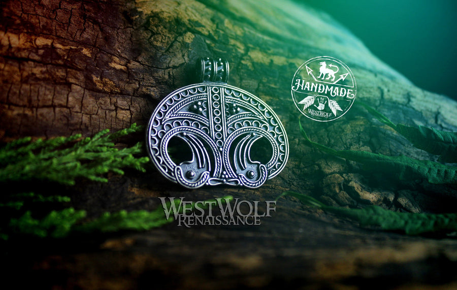 Viking Lunula Pendant from Denmark - Moon Symbol of Fertility and Good Luck - Steel or Sterling Silver