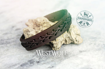 Leather Viking Weave Bracelet Crosshatched X-Weave Pattern - Adjustable Size