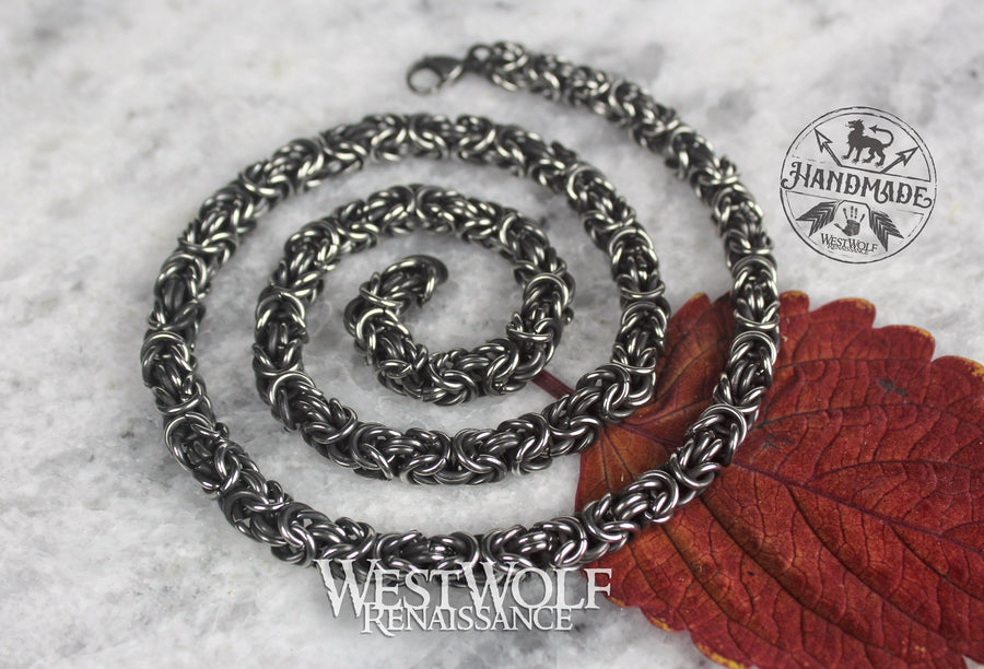 Stainless Steel Byzantine Weave Chain or Necklace - Great for Pendants