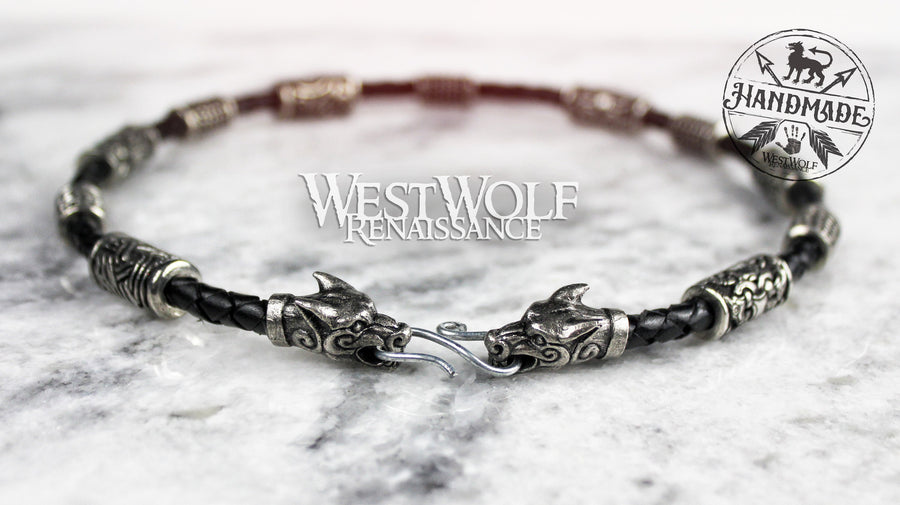 Viking Fenrir Wolf Necklace with Beads & Braided Leather Band