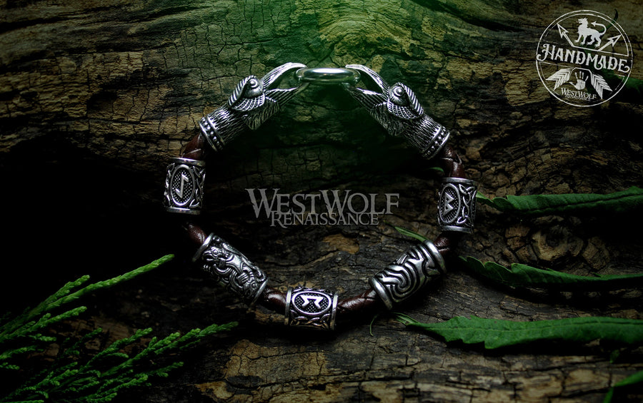 Viking Raven Head Bracelet with Beads & Braided Leather Band - Your Choice of Color