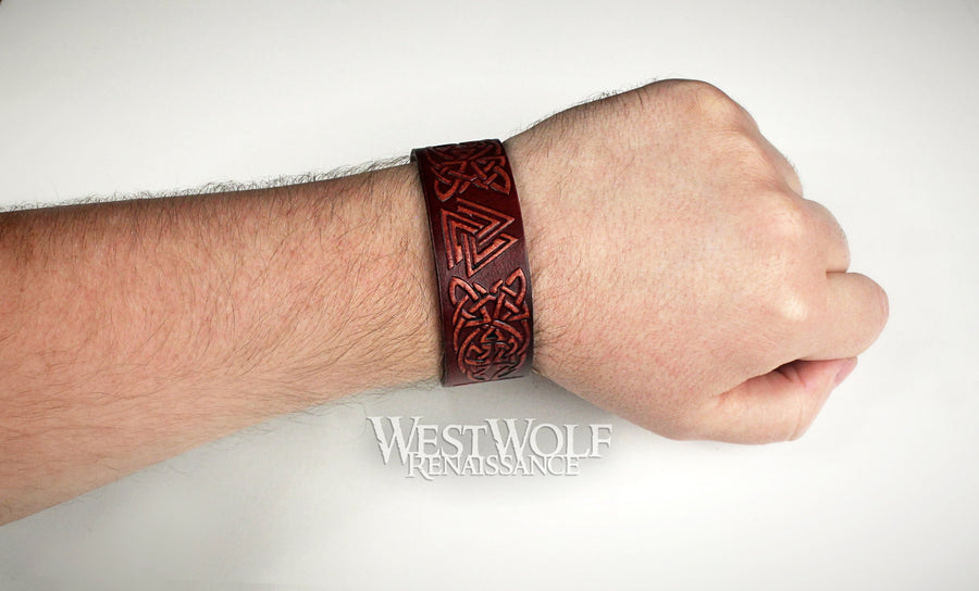 Viking Leather Valknut Bracelet - Stamped and Dyed Leather