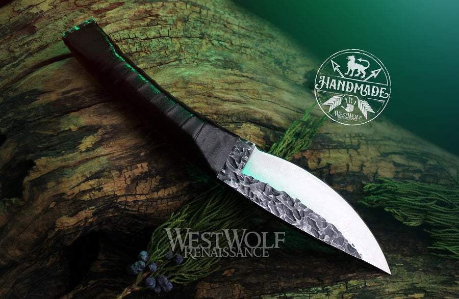 Hand-Forged Steel Knife with Leather-Wrapped Handle - Functional Full-Tang Blade