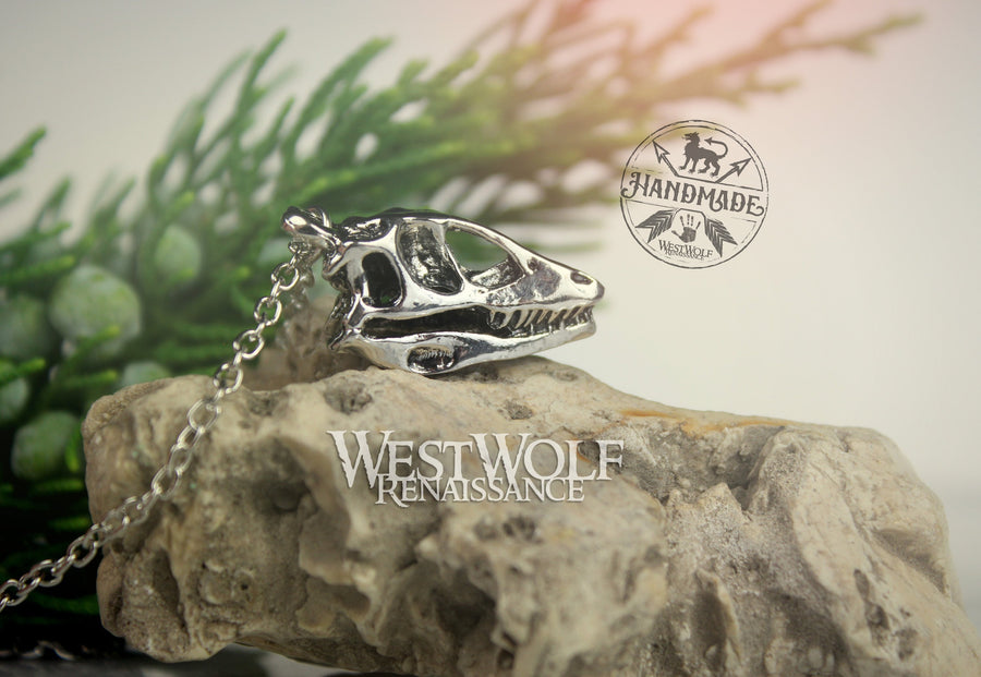 Dinosaur or Dragon Skull Pendant with 18 inch Chain - Stainless Steel