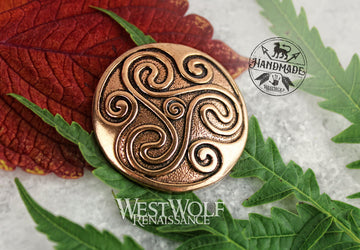 Celtic Triskelion or Triskele Pendant in Solid Bronze