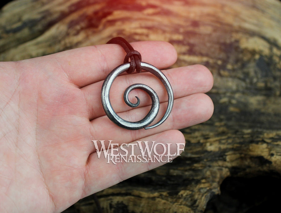 Celtic Spiral Pendant - Hand-Forged Iron with Adjustable Leather Neck Cord