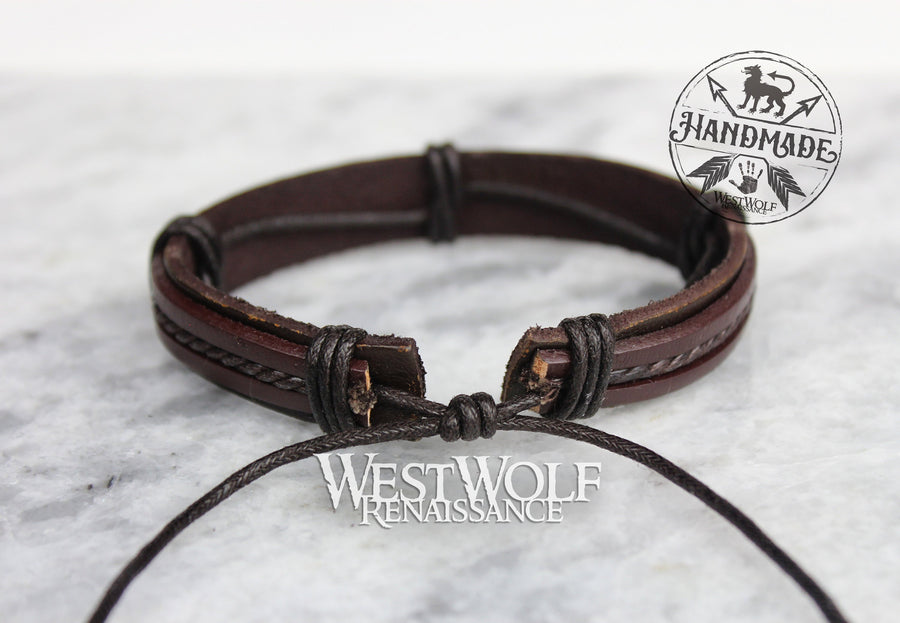Viking-Inspired Leather Bracelet - Adjustable Size - Simple Line Pattern - Made of Leather and Rope