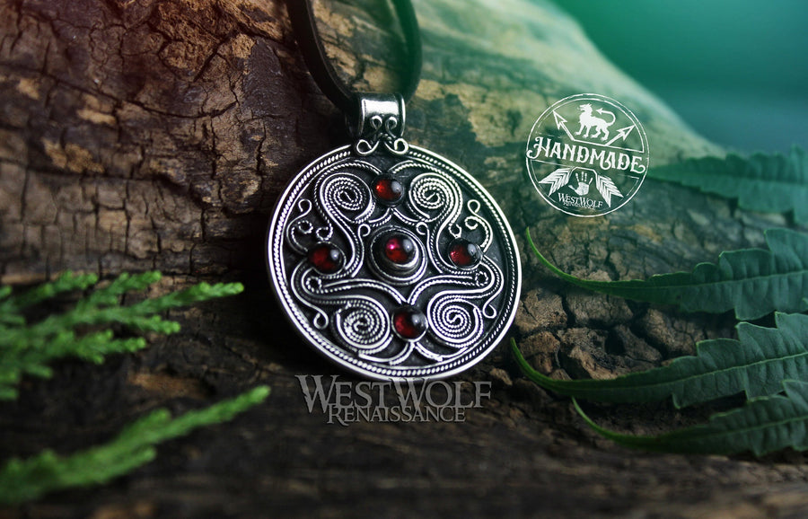 Celtic Battersea Shield Pendant in Sterling Silver with Red Garnet Stones - Amulet of Protection