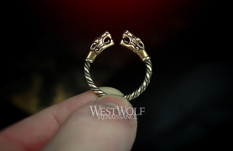 Viking Fenrir Wolf Head Ring - Made of Bronze - US Sizes 9/10/10.5