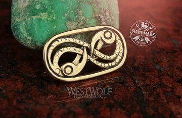 Viking Odin's Ravens Brooch - Hugin and Munin Infinity Symbol in Solid Bronze