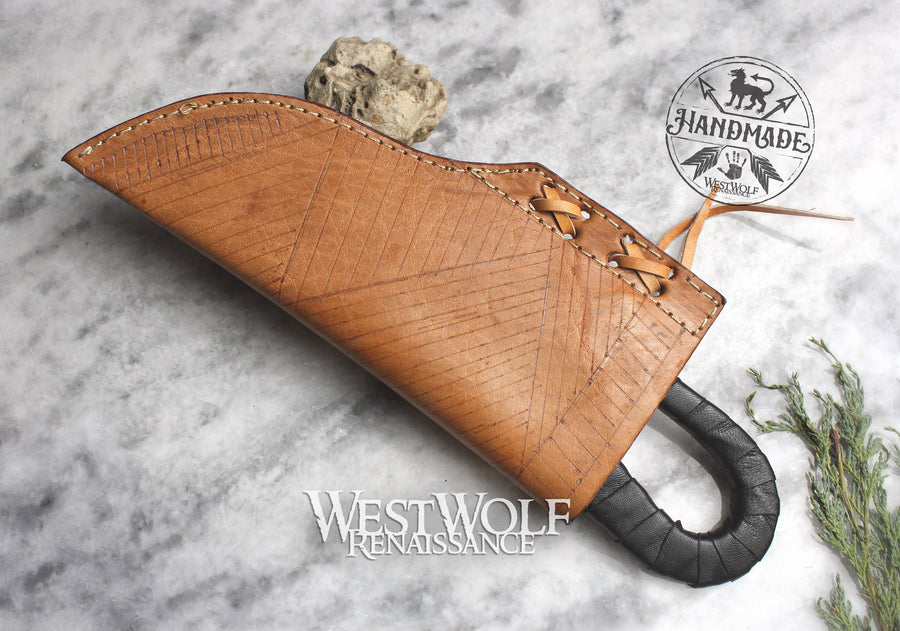 Hand-Forged Medieval Knife with Leather-Wrapped Handle and Sheath - Full-Tang Blade