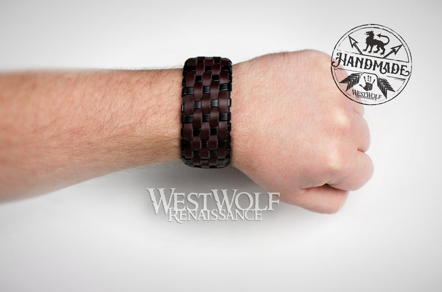 Leather Viking Basket-Weave Style Bracelet or Wrist Cuff - Adjustable Size - Woven Brown and Black Leather