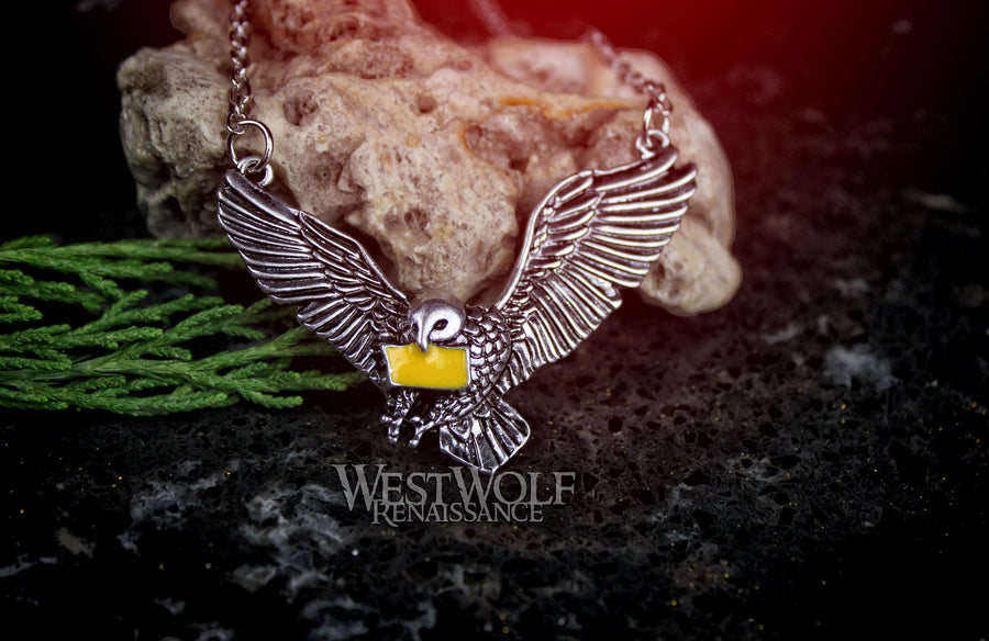Messenger Owl Pendant with Yellow Enameled Letter