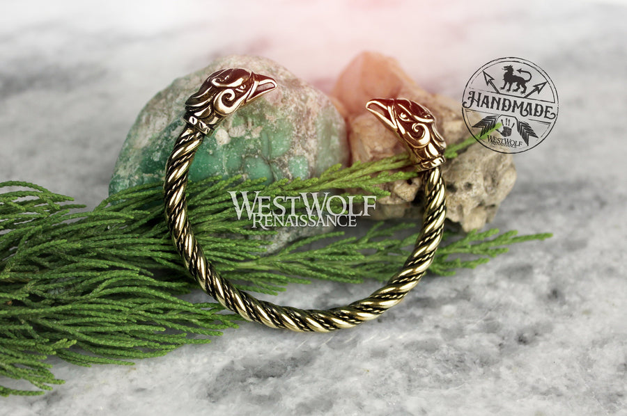 Viking Griffin Bracelet - Arm Ring with Twisted Bangle