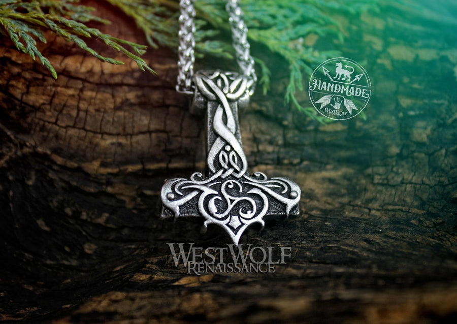 Viking Triskele Thor Hammer Pendant with 24 Inch Stainless Steel Chain