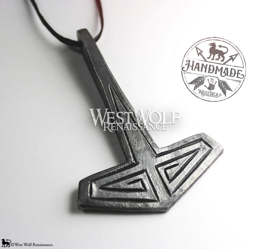 Hand-Forged Viking MJOLNIR Thor's Hammer Pendant with Hammered Line Details