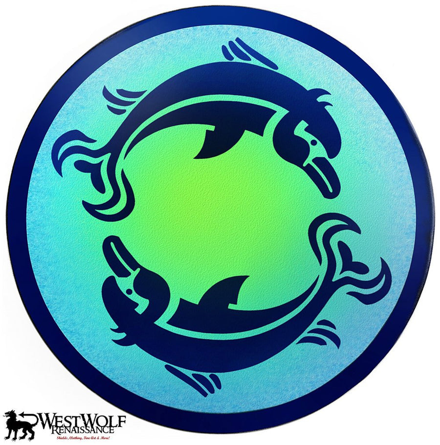 Twin Dolphin Shield with Airbrushed Background