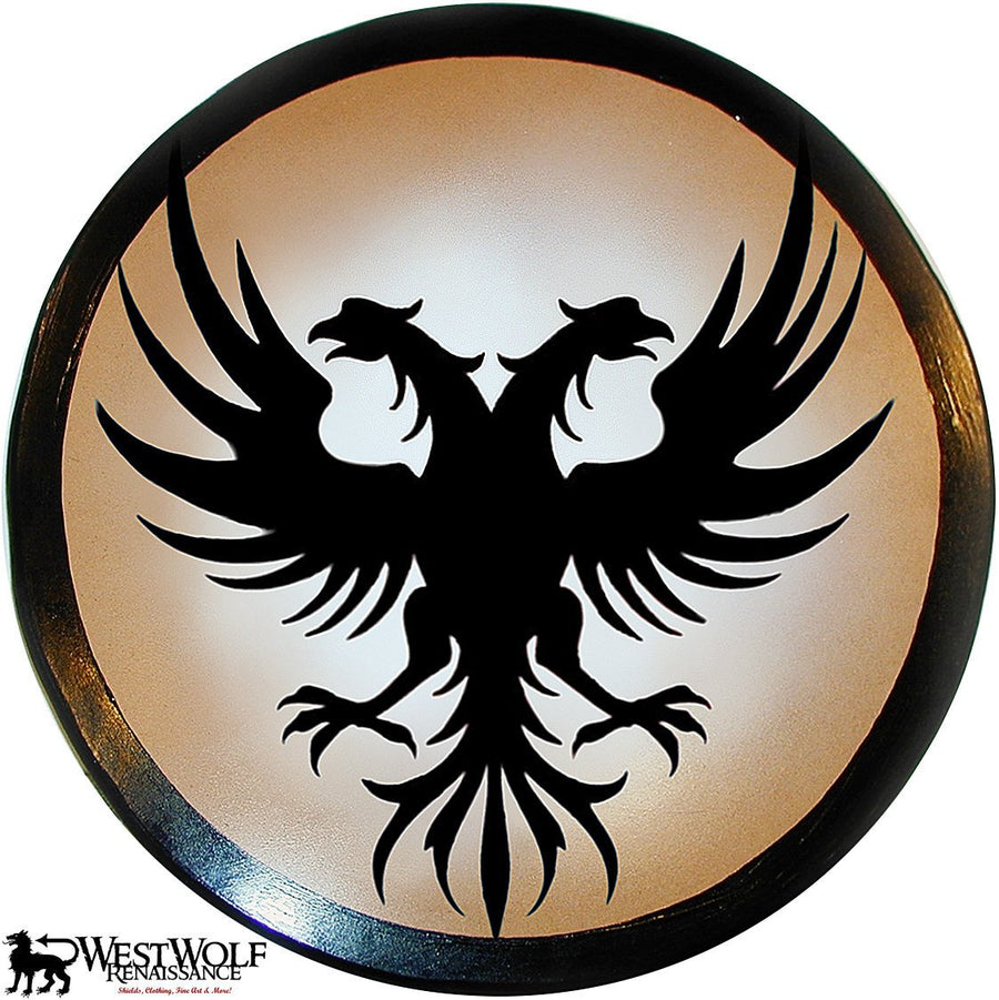 Round Wooden Twin Phoenix Shield