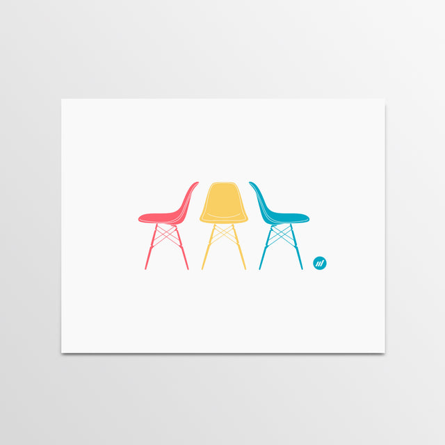 Chairs Print - Modernica Chairs Print - By Autotype