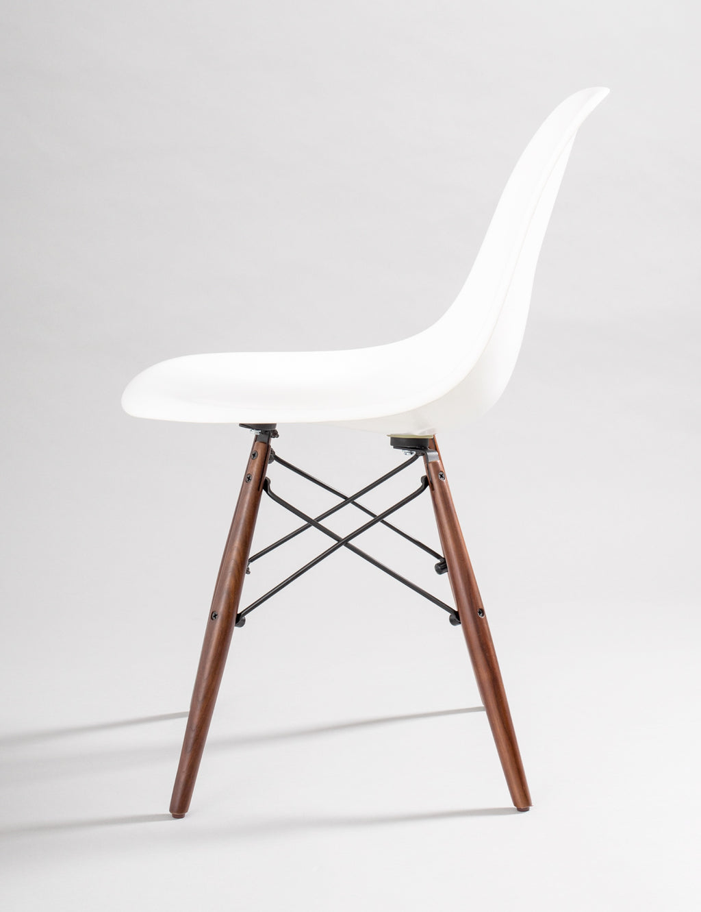 Modernica Case Study Side Shell Dowel Base - White Fiberglass Chair - By Autotype