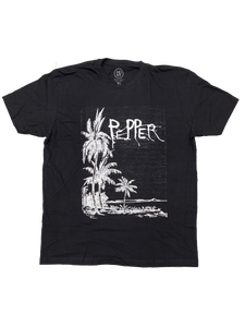 Palm Tree Faded Black T-Shirt