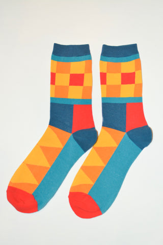 A ray of orange, red, yellow and green socks