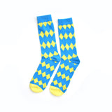 yellow and blue KYSO men's dress socks