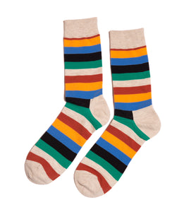 Orange Wide Stripes Dress Socks