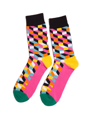 Pink Geometric Dress Socks