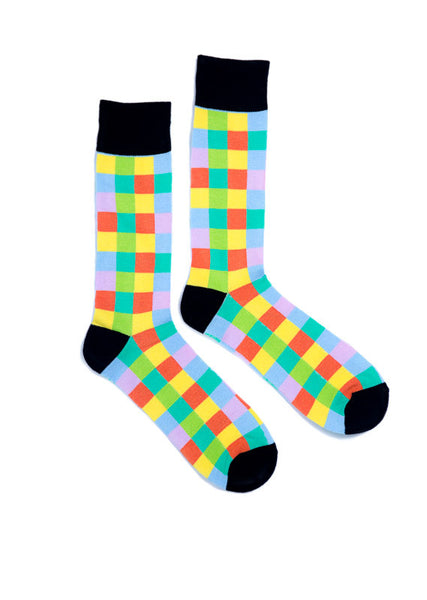 Men s Multi coloured Checkered Bamboo Dress Socks